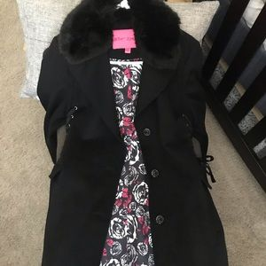 Betsey Johnson Corset Side Wool Coat